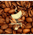 coffee cup design beans background vector image vector image