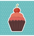 delicious sweet cupcake birthday vector image vector image