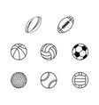 different sport balls silhouettes vector image