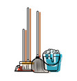dustpan and broom and mop and bucket with water