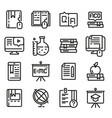 education icon set outline style vector image