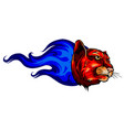 fierce panther head among fire flames blazing vector image vector image