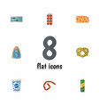 flat icon eating set of canned chicken cookie vector image vector image