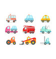 flat set different types vehicles vector image vector image