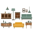 Furniture and interior accessories in flat style vector image