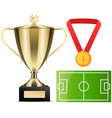 gold cup near football field poster sport game vector image