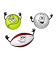 Golf tennis and football balls vector image vector image
