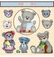 Gray Teddy bears big family mom dad and children vector image vector image