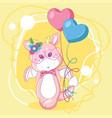 hand drawn cute dragon and balloons vector image vector image