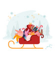 happy male and female characters riding santa vector image vector image