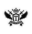 heraldic emblems crowns shields wings vector image vector image