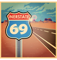 highway old poster vector image vector image