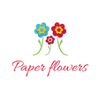 icon of color paper flowers vector image vector image