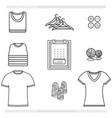 icons set clothing shirt editable outline vector image