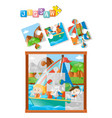 jigsaw puzzle game with kids sailing in ocean vector image vector image