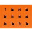 Locks icons on orange background vector image vector image
