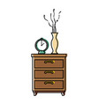 nightstand bedroom with alarm clock and base vector image