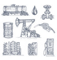 oil industry drawn icon set vector image vector image