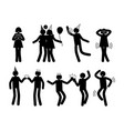 people at party in happy poses white silhouettes vector image