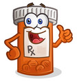 pill bottle smiling cartoon character vector image vector image
