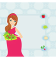 pregnant girl with a plate of salad in a hand vector image vector image