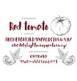 Red tomato handdrawn ink brush font