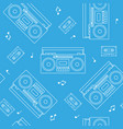 retro cassette and radio recorder seamless pattern vector image vector image