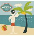 retro man on the beach vector image vector image