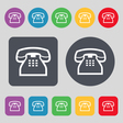 retro telephone handset icon sign A set of 12 vector image vector image