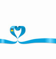 saint lucia flag heart-shaped ribbon vector image vector image
