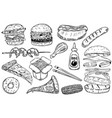set hand drawn fast food burger pizza hot dog vector image