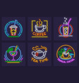 set of neon icons vector image