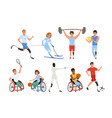 set of paralympics athletes with physical vector image vector image