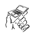 sketch small laptop in hand concept small vector image