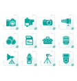 stylized photography equipment and tools icons vector image vector image