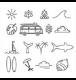 summer holiday adventure line art icon set vector image vector image