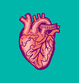 tattoo human heart icon hand drawn style vector image