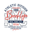typography design athletic nyc brooklyn vector image vector image