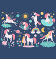 unicorn cartoon cute horse character with vector image vector image