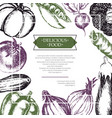 vegetables - color hand drawn composite flyer vector image vector image