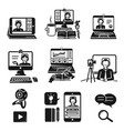 webinar icons set simple style vector image vector image