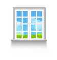 window with sky clouds and grass outside vector image