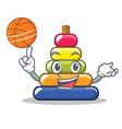with basketball pyramid ring character cartoon vector image