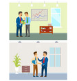 working task and orders boss and office employee vector image