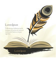 writing old pen multicolored feather with book vector image