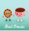 a funny cookie with a coffee cup friendship day vector image