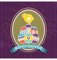 background with easter eggs and one chick vector image