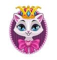 Cute beautiful princess kitty portrait vector image