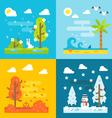 4 seasons park flat design set vecor vector image