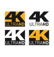 4k ultra hd icons set uhd screen resolution vector image